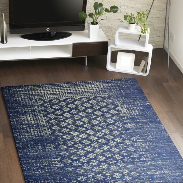 Bungalow Rose Woodrow Machine Woven Polypropylene Dark Blue Area Rug U0026  Reviews | Wayfair