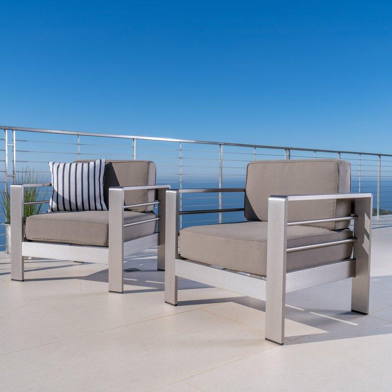 Orren Ellis Kit Outdoor Aluminum Arm Chair with Cushion Reviews