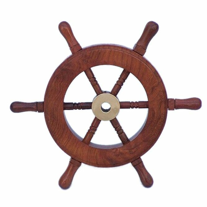 Wayfair Wall Decor beachcrest home brown wood ship wheel wall décor & reviews | wayfair