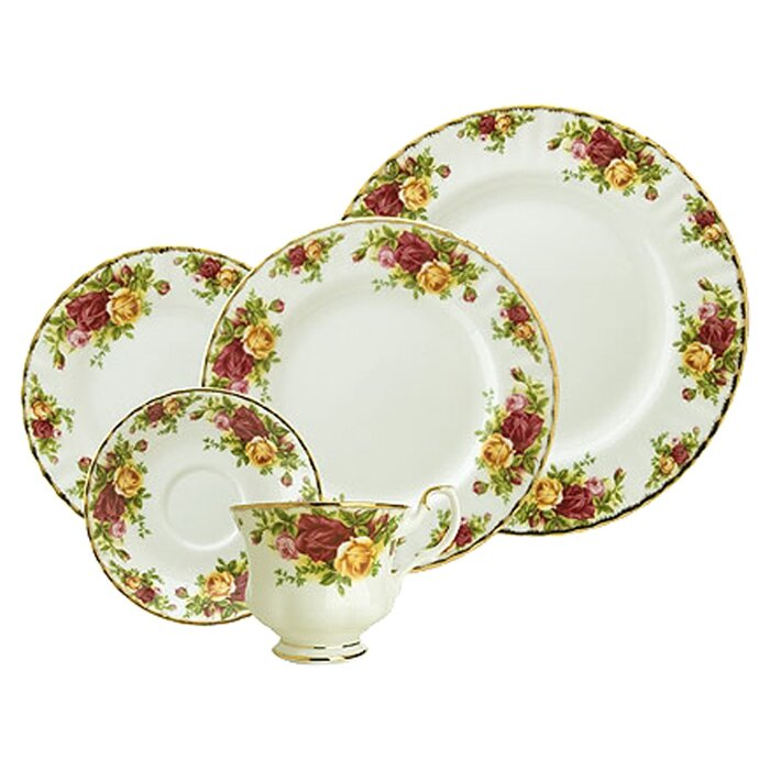 Royal Albert Old Country Roses Bone China 5 Piece Place Setting Service for 1 \u0026 Reviews | Wayfair  sc 1 st  Wayfair & Royal Albert Old Country Roses Bone China 5 Piece Place Setting ...