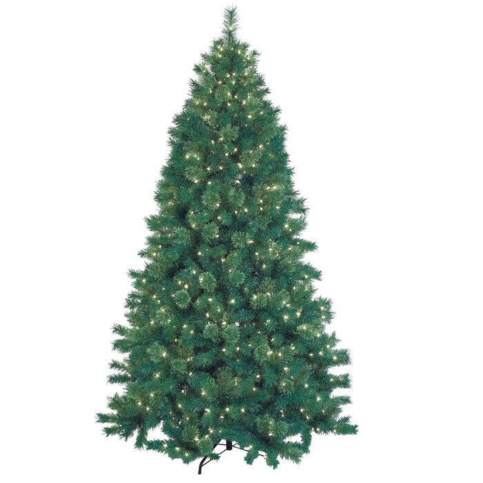 jeco inc 75 green artificial christmas tree with 600 lights and stand reviews wayfair - 75 White Christmas Tree