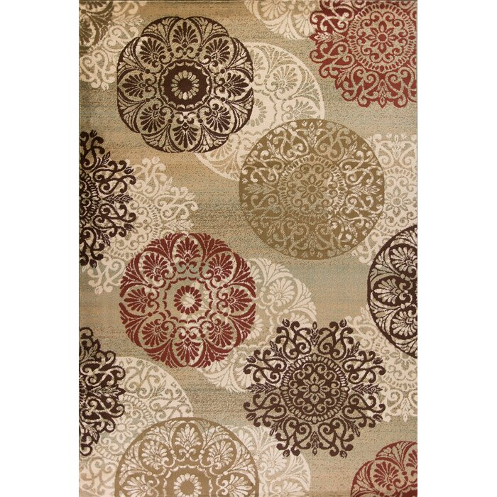 Three Posts Winterberry Beige/Brown/Red Area Rug U0026 Reviews | Wayfair