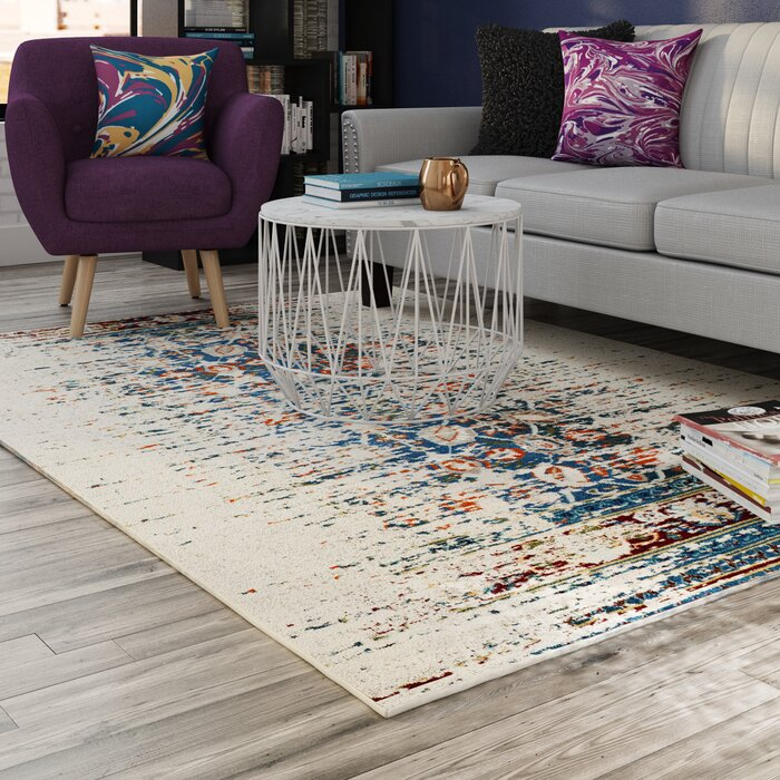 Elegant Mercury Row Hydra Ivory/Blue Area Rug U0026 Reviews | Wayfair