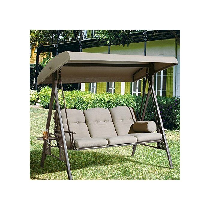 Red Barrel Studio Rohrbaugh 3 Seat Outdoor Porch Swing With Stand U0026 Reviews  | Wayfair