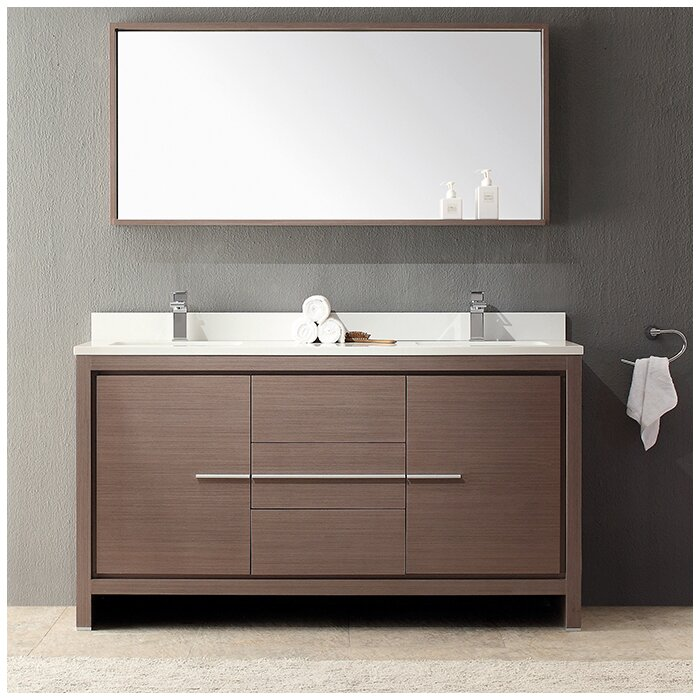 Allier 60 Double Modern Bathroom Vanity Set With Mirror