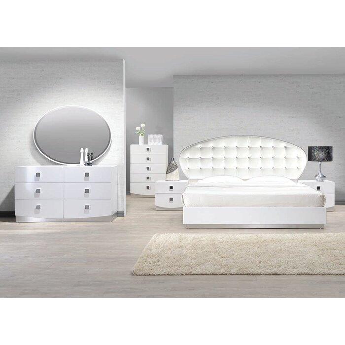 wade logan mikolas platform  pieces bedroom set  reviews  wayfair, Bedroom designs