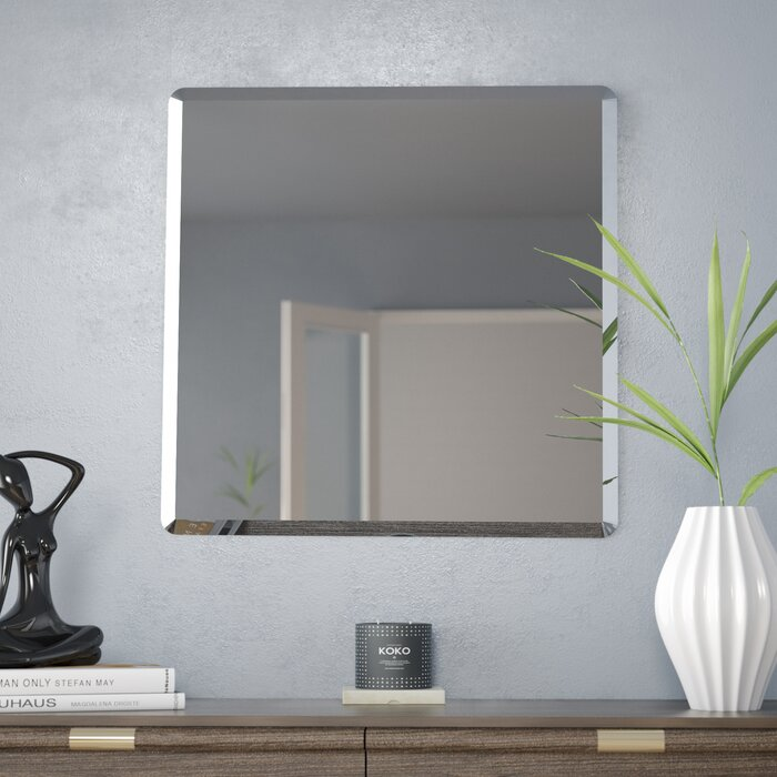 Beveled Wall Mirror wade logan kayden frameless beveled wall mirror & reviews | wayfair