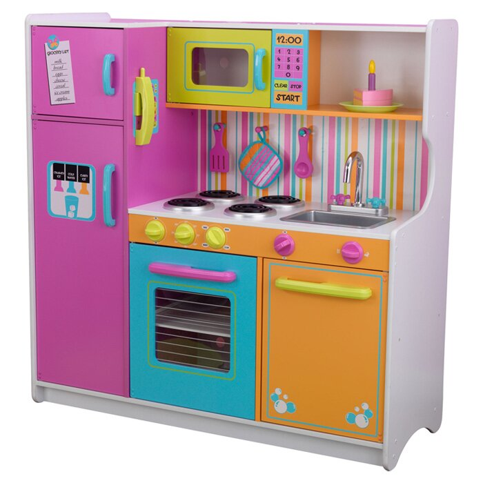 Kidkraft Kitchen kidkraft deluxe big & bright kitchen play set & reviews | wayfair