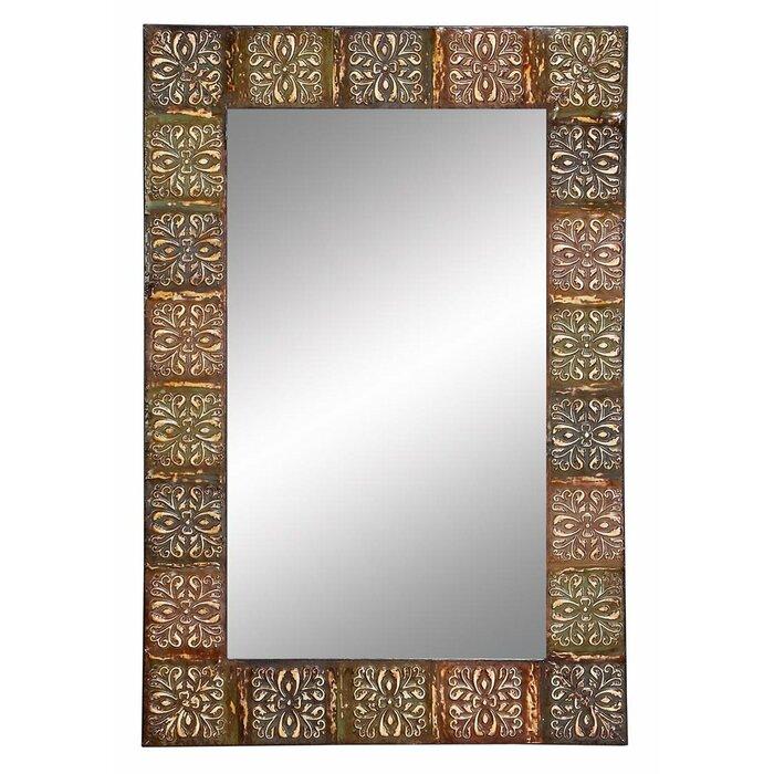 Brown Wall Mirror world menagerie embossed metal frame wall mirror & reviews | wayfair