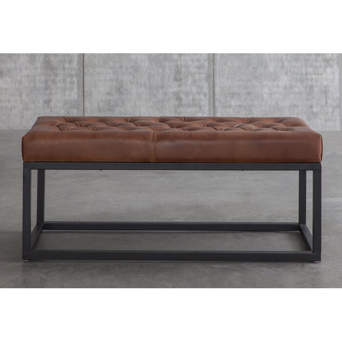 Adelinda Metal and Leather Bench