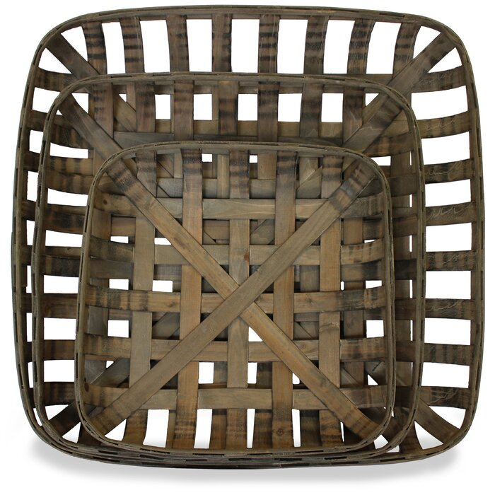 Tobacco Wood 3 Piece Basket Set