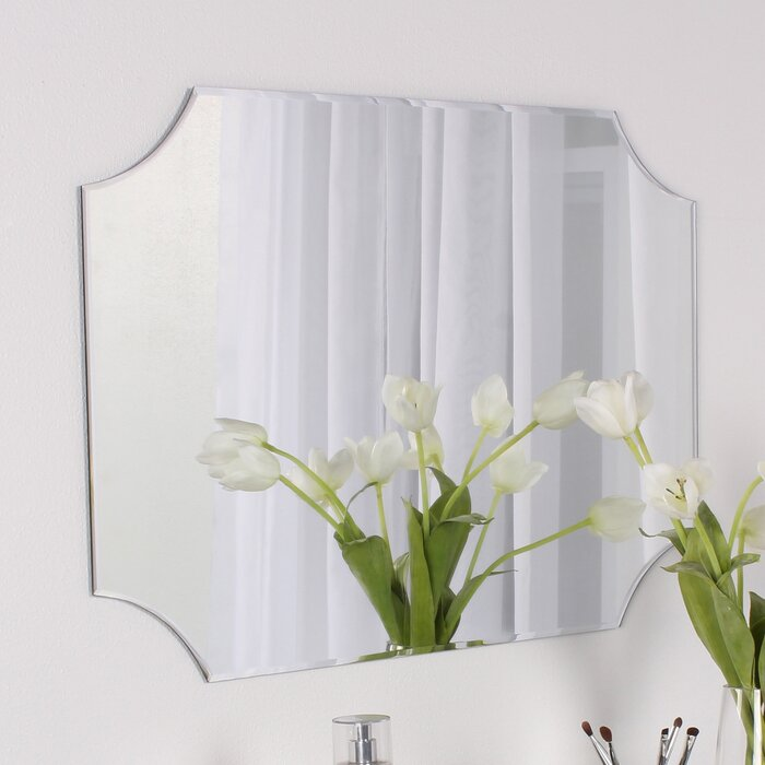 Beveled Wall Mirror dsov reign frameless rectangle scalloped beveled wall mirror