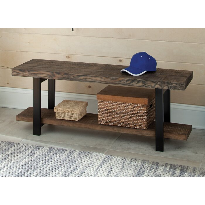 loon peak somers reclaimed woodmetal storage entryway bench u0026 reviews wayfair