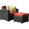 Brayden Studio® Loggins Patio Chair with Cushion and Ottoman