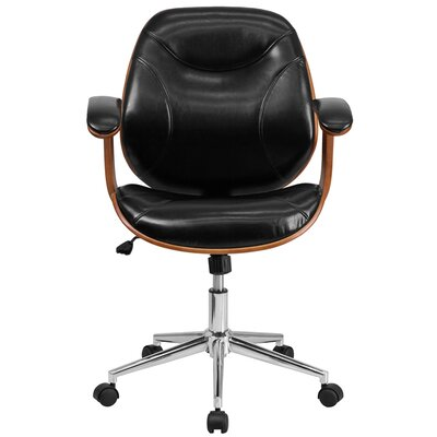 flash furniture high-back leather desk chair & reviews | wayfair