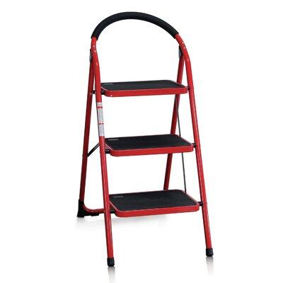 wildon home 3step steel folding step stool with 200 lbs load capacity u0026 reviews wayfair - Folding Step Stool
