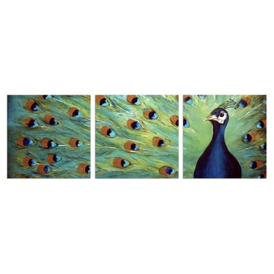 3 Piece Wall Art Set stupell industries prized peacock 3 piece triptych canvas wall art