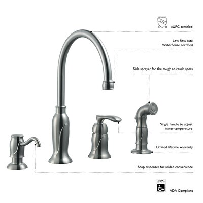 Design House Madison Single Handle Kitchen Faucet With Sprayer And Soap  Dispenser U0026 Reviews | Wayfair Part 35