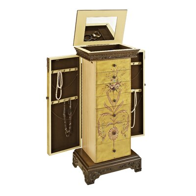 Powell Masterpiece Antique Parchment Hand Painted Jewelry Armoire U0026 Reviews  | Wayfair
