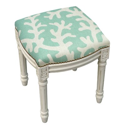 123 Creations Coastal Linen Upholstered Vanity Stool & Reviews ...