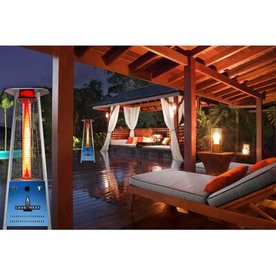 Lava Heat Triangular Commercial Flame LED 42,000 BTU Patio Heater With  Remote | Wayfair