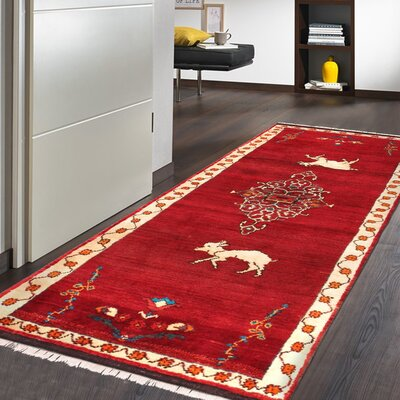 Pasargad Gabbeh Vintage Lambu0027s Wool Runner Hand Knotted Red/Black Area Rug  U0026 Reviews | Wayfair