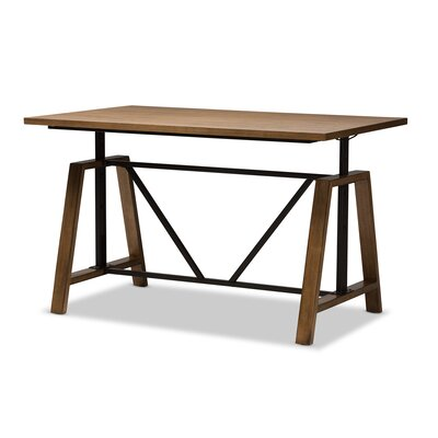 Foundry Select Ailith Metal And Distressed Wood Standing Desk Reviews Wayfair