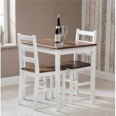 Laurel Foundry Mantador Solid Pine Wood Dining Set with 2 Chairs