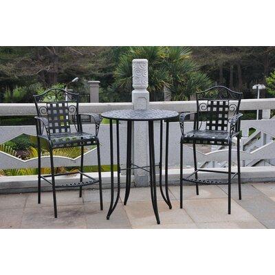 Three Posts Snowberry 3 Piece Wrought Iron Bar Height Bistro Patio Set U0026  Reviews | Wayfair