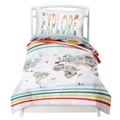 Where the polka dots roam world map explorer reversible duvet where the polka dots roam world map explorer reversible duvet cover set reviews wayfair publicscrutiny Image collections