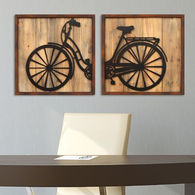 stratton home decor 2 piece retro bicycle panels wall décor set