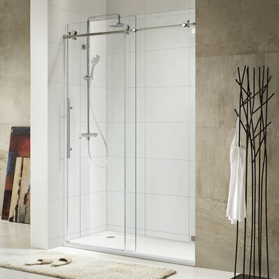 wet republic trident lux x single sliding frameless shower door u0026 reviews wayfair