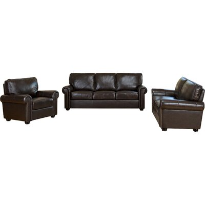 darby home co coggins 3 piece italian leather sofa loveseat and armchair u0026 reviews wayfair - Italian Leather Sofa