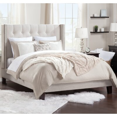 fabric upholstered platform bed queen home co modern full or size with headboard