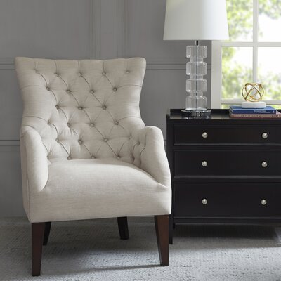 darby home co steelton button tufted wingback chair u0026 reviews wayfair