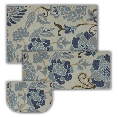 Kitchen Rug Set | Alcott Hill Thorson 3 Piece Power Flower Printed Kitchen Mat Set