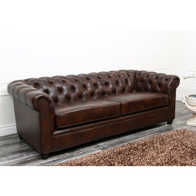 Chesterfield sofa  Harlem Leather Chesterfield Sofa & Reviews | Birch Lane