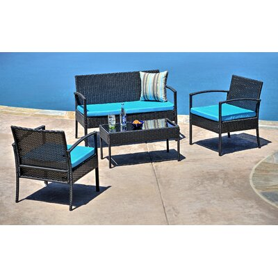 Charlton Home Fayette 4 Piece Wicker Seating Group With Cushion U0026 Reviews |  Wayfair