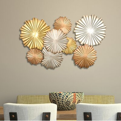 Metal Circle Wall Decor mistana mixed statement circles metal wall décor & reviews | wayfair