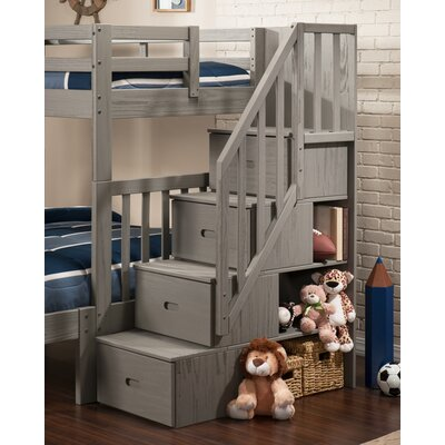 viv rae dustin staircase bunk bed with drawers u0026 reviews wayfair - Bunk Bed With Stairs