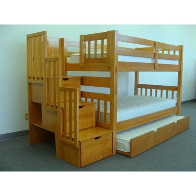 Viv Rae Mission Twin over Twin Bunk Bed with Trundle and Storage