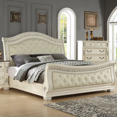 fairfax home collections alexandra upholstered sleigh bed u0026 reviews wayfair