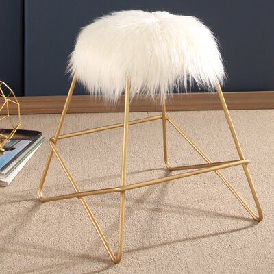 Willa Arlo Interiors Charlita Faux Fur Vanity Stool | Wayfair