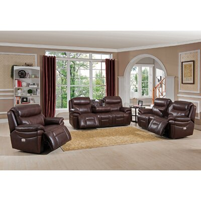 amax sanford 3 piece leather power reclining living room set with