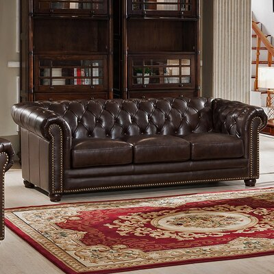 Amax Kensington Top Grain Leather Chesterfield Sofa Reviews - Chesterfield sofa