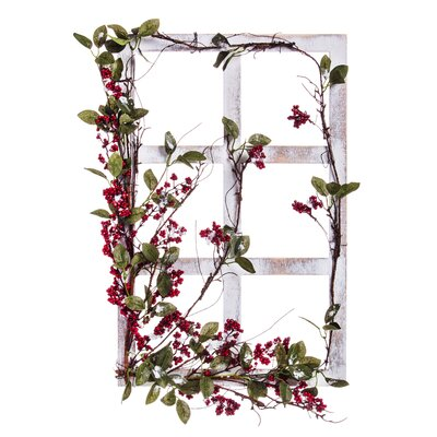 Window Frame Wall Decor the holiday aisle white wooden window frame berry wall décor | wayfair