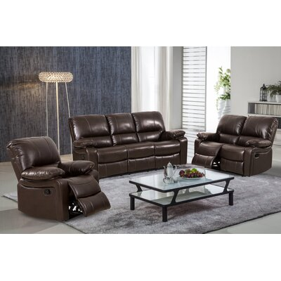 Living In Style Layla 3 Piece Leather Gel Reclining Living Room Set U0026  Reviews | Wayfair
