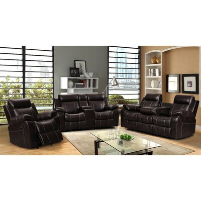 Living In Style Gabrielle 3 Piece Living Room Reclining Sofa Set ...