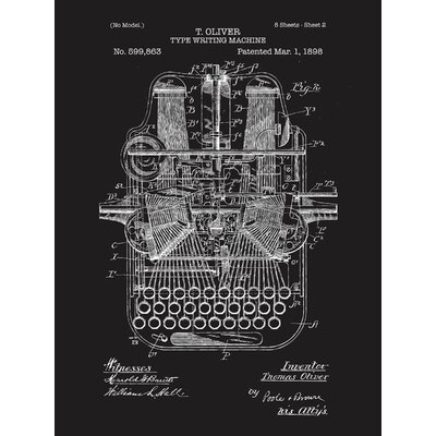 Inked and screened type writing machine blueprint graphic art inked and screened type writing machine blueprint graphic art reviews wayfair malvernweather Images