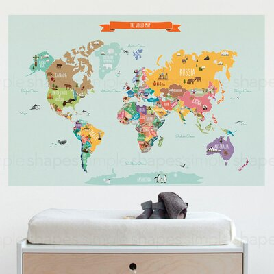 SimpleShapes Countries Of The World Map Poster Wall Decal U0026 Reviews |  Wayfair Part 45